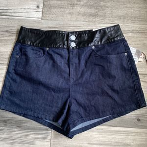 G by Guess Faux Leather High Waist Shorts